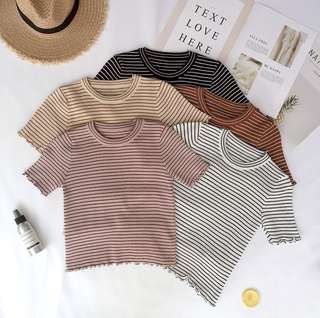 dusty rose pink knitted ribbed stripes top