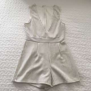 CUTE STRIPED BLACK AND WHITE PLAYSUIT