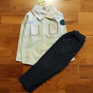 Kemeja stripe abu set jeans