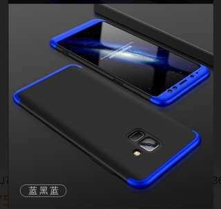 🚚 Samsung 三星 A8+ A8 plus 2018 藍黑藍雙色手機殼 硬質 防摔 三件式