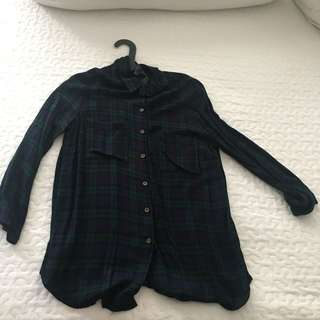 BLUE GREEN CHECKERED FLANNEL