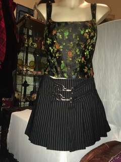 lip service pinstripe pleated short skirt with buckles