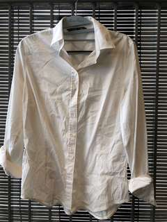 Zara basic white long sleeve work shirt