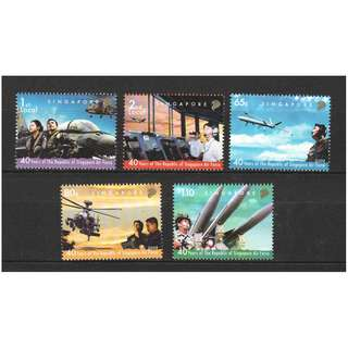 SINGAPORE 2008 40 YEARS OF SINGAPORE AIR FORCE COMP. SET OF 5 STAMPS IN MINT MNH UNUSED CONDITION