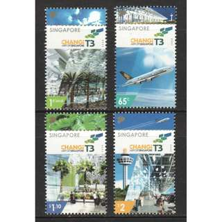 SINGAPORE 2008 CHANGI AIRPORT TERMINAL 3 COMP. SET OF 4 STAMPS IN MINT MNH UNUSED CONDITION
