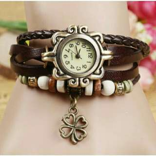 Weave Women Leather Bracelet Analog Quartz Watch