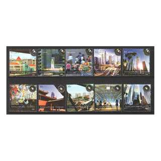 SINGAPORE 2008 NATIONAL DAY (PHOTOS OF SINGAPORE TODAY) COMP. SET OF 10 STAMPS IN MINT MNH UNUSED CONDITION