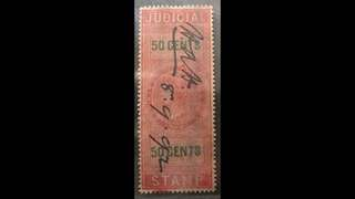 Straits Settlements Queen Victoria revenue 50c Used Rare