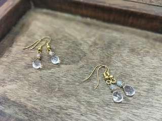 全新天然石白水晶水滴耳環