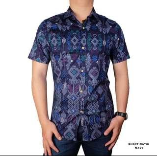 Kemeja Batik Songket Navy Size M-XL BARU