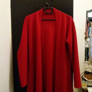 Long red cardigan