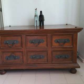 Antique Solid Wood Buffet with 6 Drawers