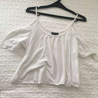 TOPSHOP WHITE COLD OFF THE SHOULDER TOP