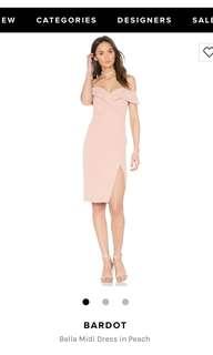 Revolve Bardot Midi Dress in Peach