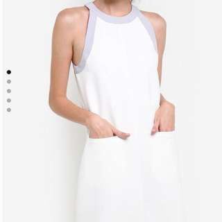 White Contrast Binding Dress