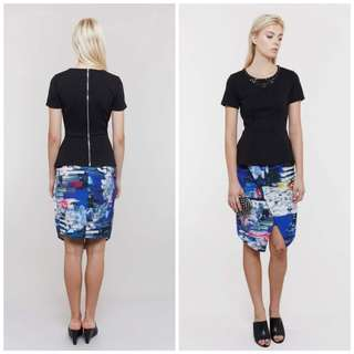 BNWT MDS Adelai Skirt in Print Blue Multicolor High Waist Split ✔