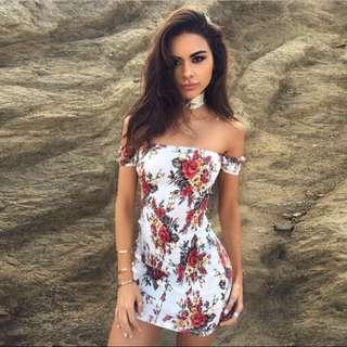 choker floral off shoulder bodycon mini dress