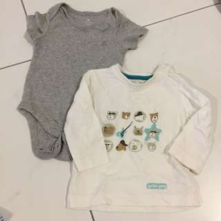 [5 items] 6M baby boy romper and shirt
