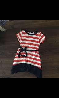 🍄減價優惠🍄全新橙/白包橫間連身裙,Made in Korea,