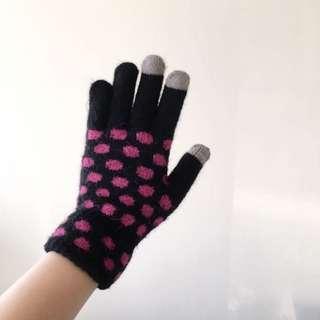 🚚 超可愛 可觸控手套 點點控款 #交換最划算 黑色x桃紅色