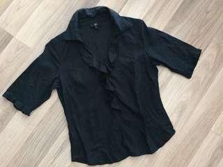 🚚 專櫃品牌。IF。棉麻五分袖衫。XS~S。黑色