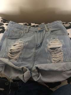 Boyfriend denim shorts