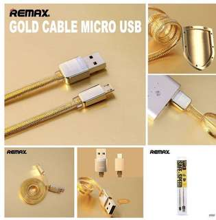 Remax Charging Cable, RC-016 Safe And Speed Gold Cable ( 1meter ) , Iphone / Android