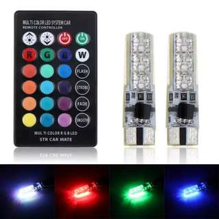 2pcs T10 LED RGB with remote control