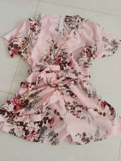 Pink floral jumpsuit with wrap - New