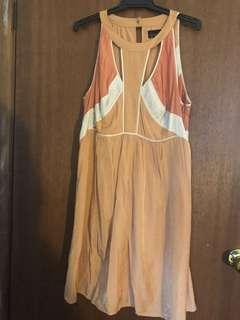 Wish rustic copper orange dress with neckline detail