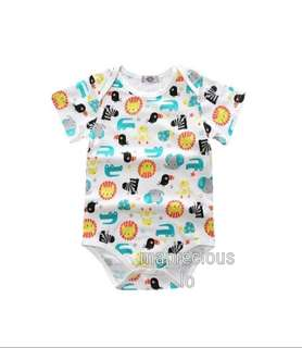 [NEW INSTOCKS] Baby Romper - Colourful Animals Short Sleeve
