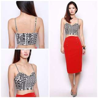 BNWT MDS Tribal Bustier Style Top Cropped Monochrome ✔