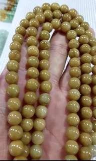 Natural Jadeite Myanmar Jade Necklace 天然缅甸玉A货翡翠黄翡108念珠