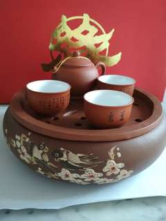 Zisha tea pot & cup set