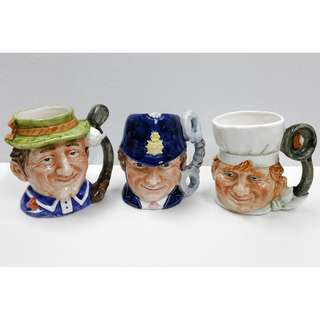 Lot of 3 Vintage English Novelty Ceramic Mugs: Golfer, Police Constable & Chef Rare! Last Lot!