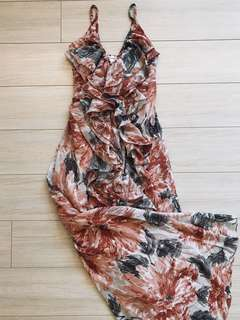 Floral Maxi Dress Chiffon - Beach Garden Wedding Raya Dress
