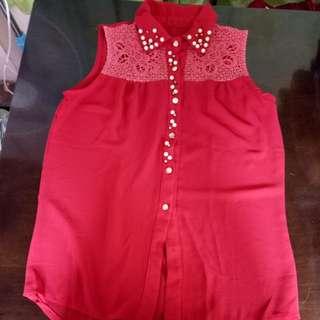 Red chiffon blouse