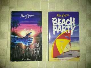 RL STINE HORROR BOOKS! THE HITCHHIKER & BEACH PARTY