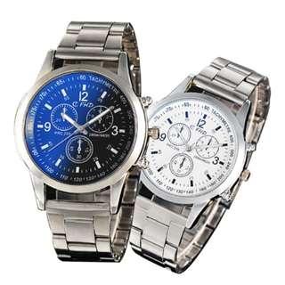 FHD 2018 Fashion Men's Watches Stainless Steel Band Men Sport Quartz Wrist Watch