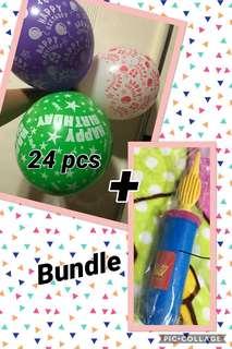 Bundle!!! Happy Birthday Balloons and inflator