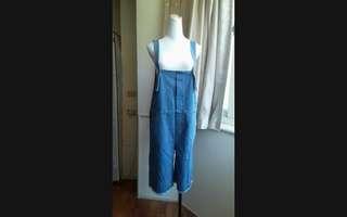 韓版 韓風 淺藍 寬鬆 牛仔吊帶七分寬褲