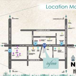 1 BR at Infina Towers, A Blvd, QC near Anonas Station LRT II, Farmers, Gateway