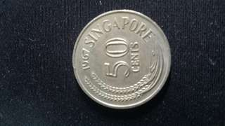 1967 Singapore 50 cent coin
