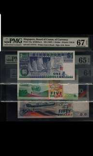 Matching  B/7 777777 Singapore Ship $1, $5, $50 Super Solid type set PMG 64, 65 epq, 67 epq