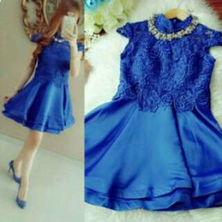 Premium Cheongsam blue Dress