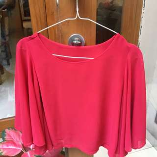Red Crop-Top Chiffon Blouse