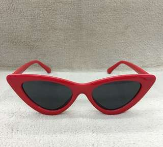 Cat Eye Sunnies (Red Frame Black Lens)