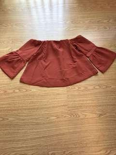 Off-Shoulder Rust Bell Sleeves Blouse