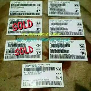 Barcode Rxz dan 125zr Rm7 Pos express tmbh rm3