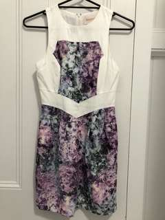 Keepsake dress - xs great condition - has pockets - white and purple grey print - cute and unique